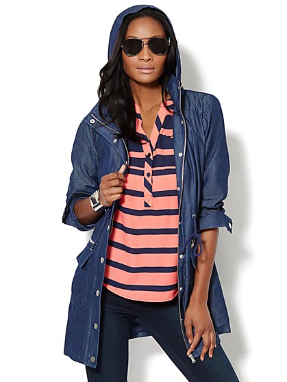 Chambray Hooded Anorak  - New York & Company