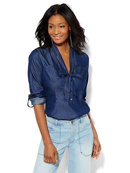 Chambray Popover Bow Shirt - Blue Estate Wash  - New York & Company