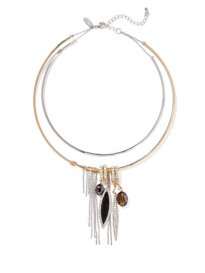 Charm & Fringe Collar Necklace  - New York & Company