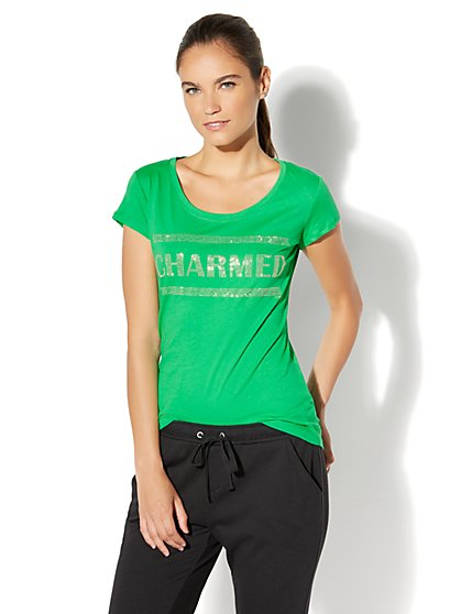 Charmed Studded Graphic Logo Tee - New York & Company
