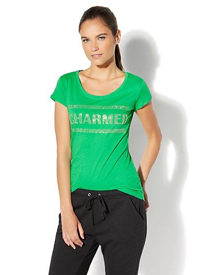 Charmed Studded Graphic Logo Tee - New York & Company