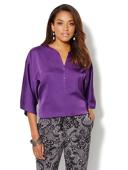 Charmeuse Banded-Bottom Blouse - New York & Company
