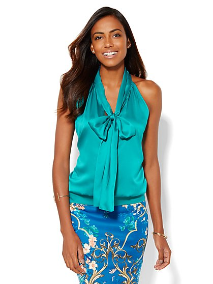 Charmeuse Bow Halter Top  - New York & Company