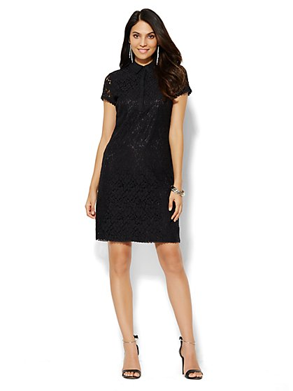Charmeuse-Collar Lace Shirtdress  - New York & Company