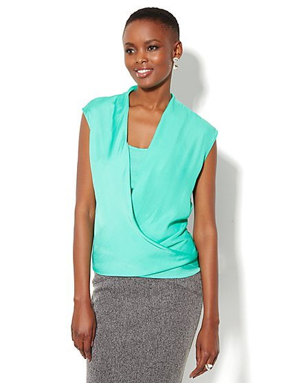 Charmeuse Faux-Wrap Sleeveless Blouse - New York & Company