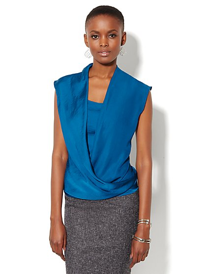 Charmeuse Faux-Wrap Sleeveless Blouse - New York & Company