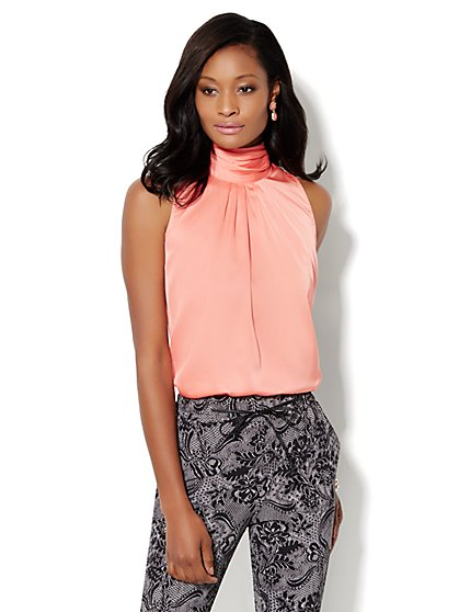 Charmeuse Mock-Neck Sleeveless Blouse - New York & Company