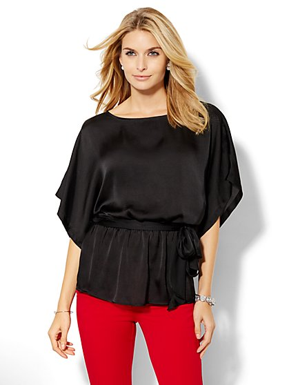 Charmeuse Peplum Tunic  - New York & Company