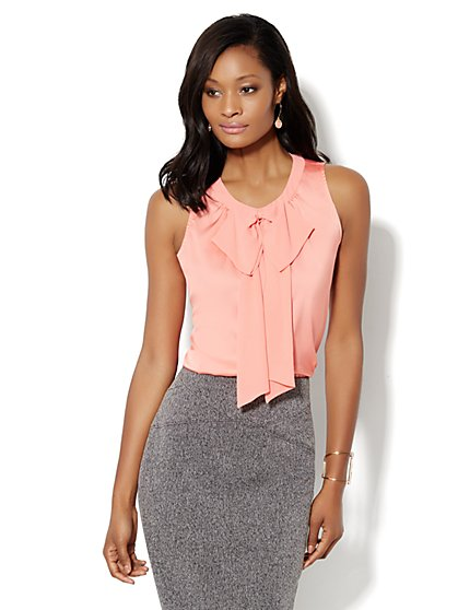 Charmeuse Sleeveless Bow Blouse     - New York & Company