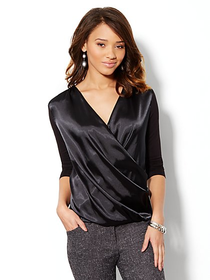 Charmeuse Wrap Top - New York & Company