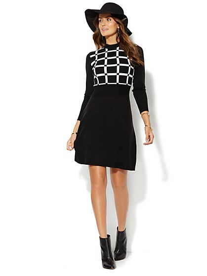 Checked Flare Sweater Dress  - New York & Company