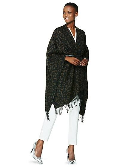 Cheetah Fringed Wrap - New York & Company