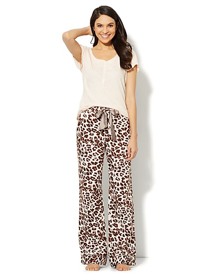 Cheetah-Print Cotton Pajama Set  - New York & Company