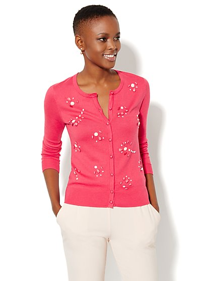 Chelsea Beaded Crewneck Cardigan  - New York & Company