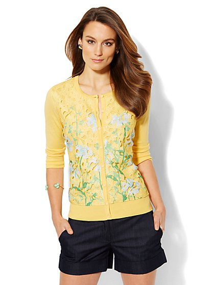 Chelsea Cardigan - Printed Floral Lace - Petite  - New York & Company