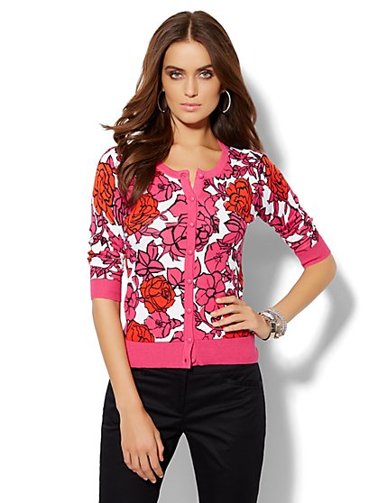 Chelsea Floral Crewneck Cardigan  - New York & Company