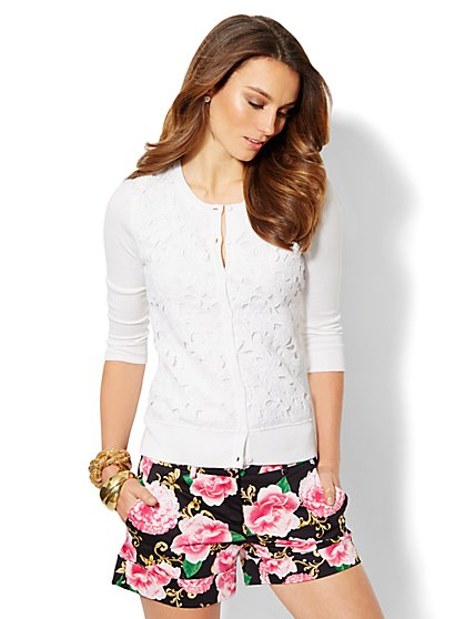 Chelsea Floral Lace Cardigan - New York & Company