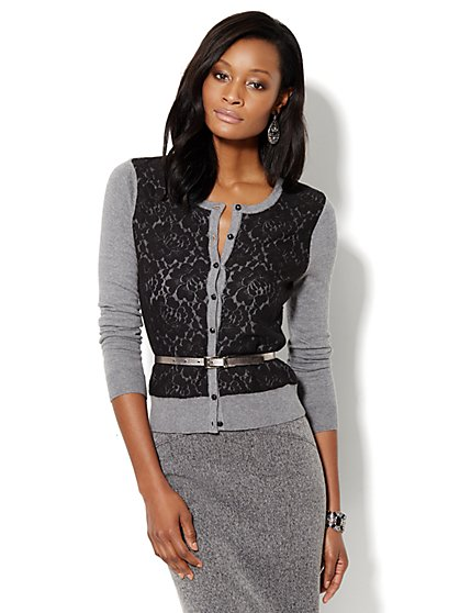 Chelsea Lace-Front Crewneck Cardigan  - New York & Company