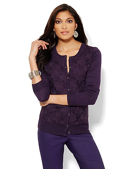 Chelsea Lace-Panel Cardigan - New York & Company