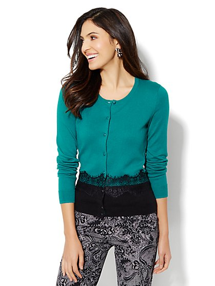 Chelsea Lace-Trim Crewneck Cardigan  - New York & Company