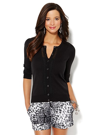 Chelsea Lurex Pointelle-Knit Cardigan  - New York & Company