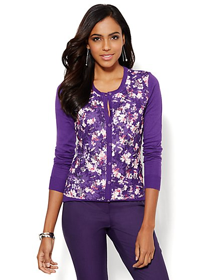 Chelsea Printed Lace-Panel Cardigan  - New York & Company