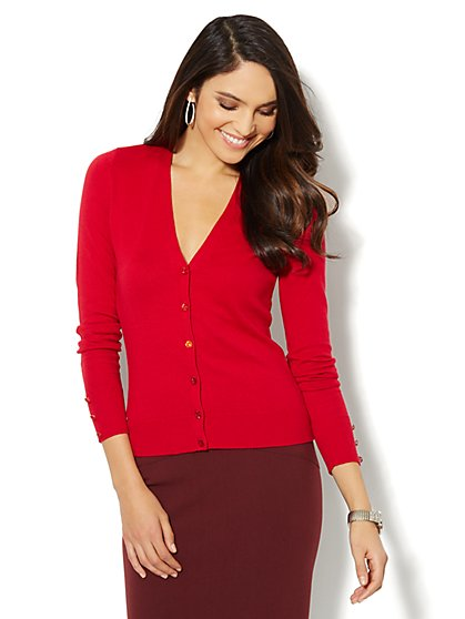 Chelsea Shimmer-Button Cardigan - New York & Company