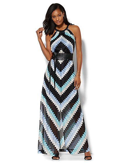 Chevron Halter Maxi Dress - Petite  - New York & Company