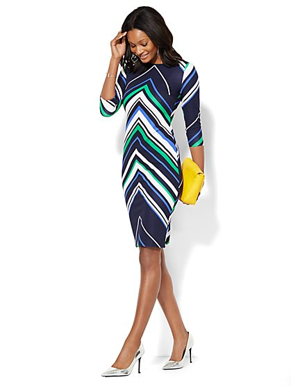 Chevron Stripe Sheath Dress  - New York & Company
