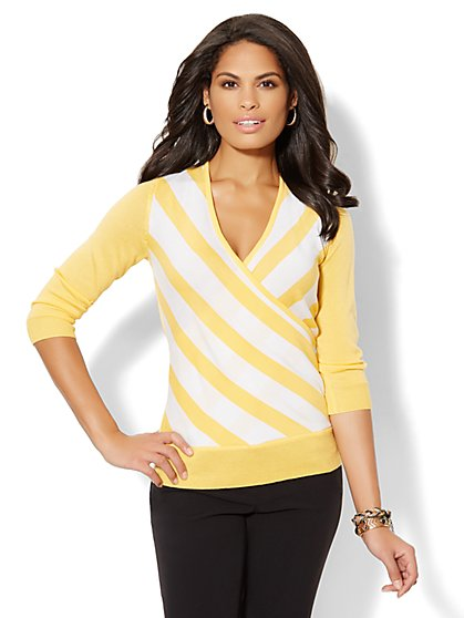 Chevron-Striped Wrap Pullover  - New York & Company
