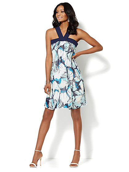 Chiffon Banded-Front Dress - Tropical Floral - New York & Company