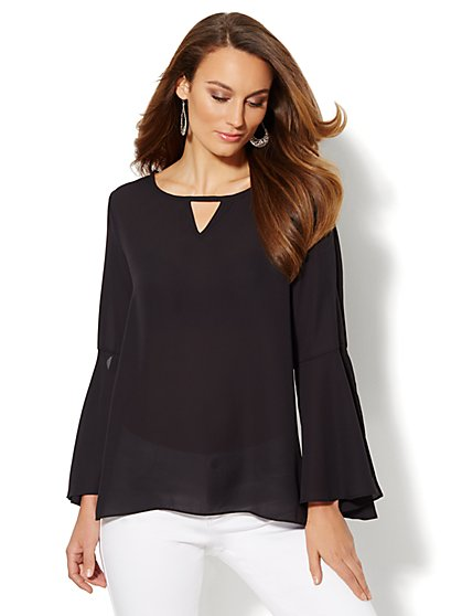 Chiffon Bell-Sleeve Blouse - New York & Company