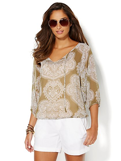 Chiffon Blouse - Graphic Print  - New York & Company