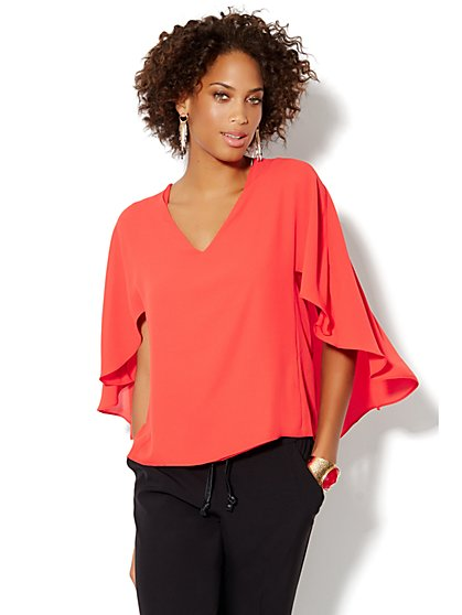 Chiffon Cape Blouse - New York & Company