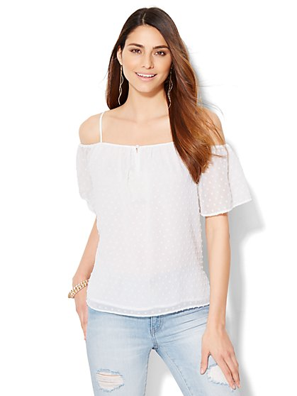 Chiffon Cold-Shoulder Blouse  - New York & Company