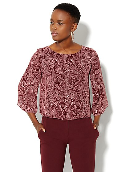 Chiffon Crop Top - Paisley - New York & Company