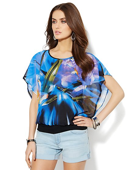 Chiffon Dolman Blouse - Abstract Floral - New York & Company