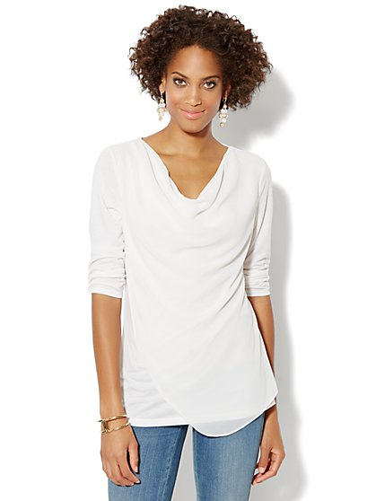 Chiffon-Front Knit Top - New York & Company
