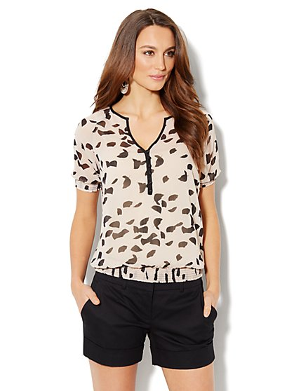 Chiffon Leaf-Print Blouse - New York & Company