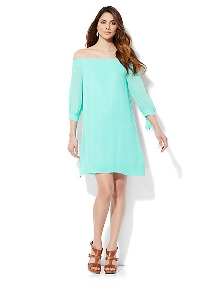 Chiffon Off-The-Shoulder Dress  - New York & Company