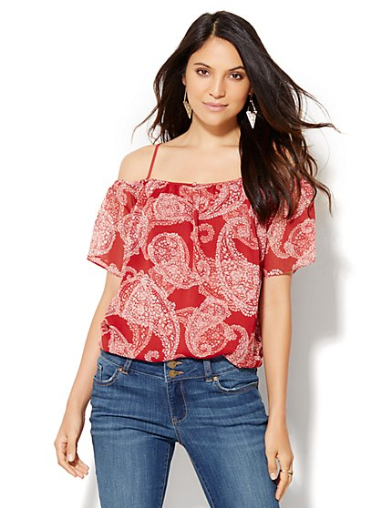 Chiffon Overlay Cold-Shoulder Blouse - Paisley Print  - New York & Company