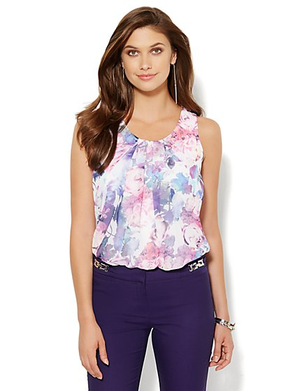 Chiffon Overlay Knit Top - Floral  - New York & Company