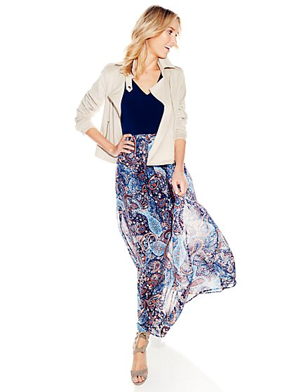 Chiffon Overlay Maxi Dress - Paisley Print - Petite  - New York & Company