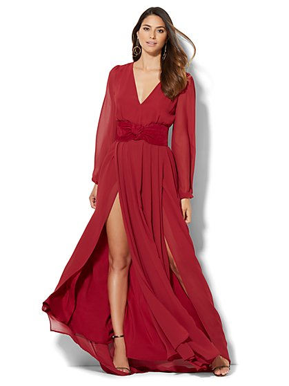 Chiffon-Overlay Maxi Dress - Petite  - New York & Company