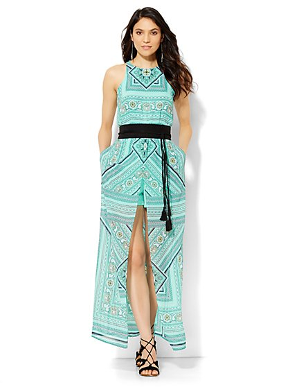 Chiffon-Overlay Maxi Dress - Print  - New York & Company
