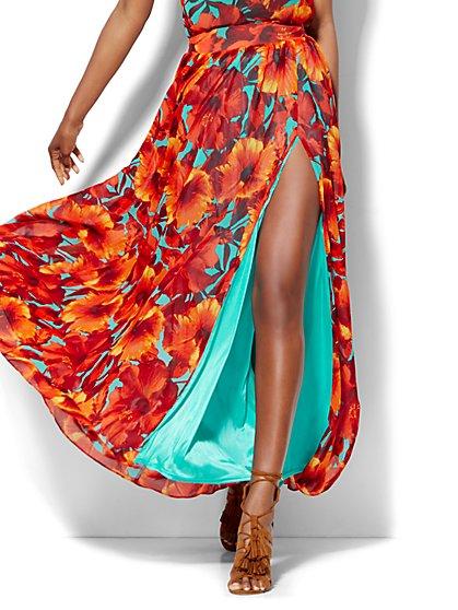 Chiffon Overlay Maxi Skirt - Floral - Petite - New York & Company