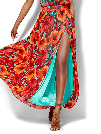 Chiffon Overlay Maxi Skirt - Floral - New York & Company
