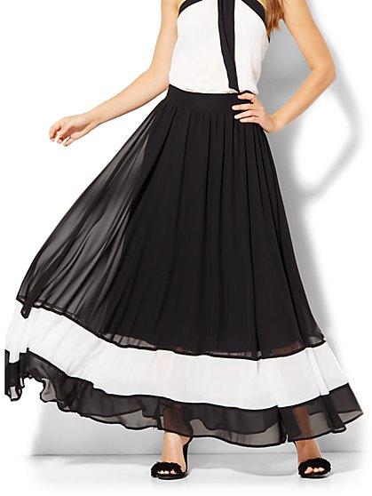 Chiffon-Overlay Maxi Skirt - Stripe  - New York & Company