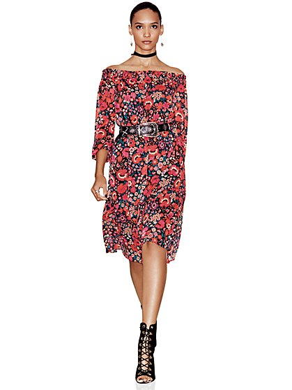 Chiffon-Overlay Off-The-Shoulder Dress - Floral  - New York & Company