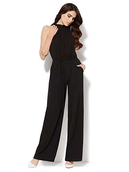 Chiffon-Overlay Pleated Jumpsuit  - New York & Company